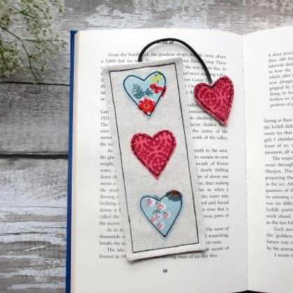 Heart Bookmark, Fabric Bookmark, Un..