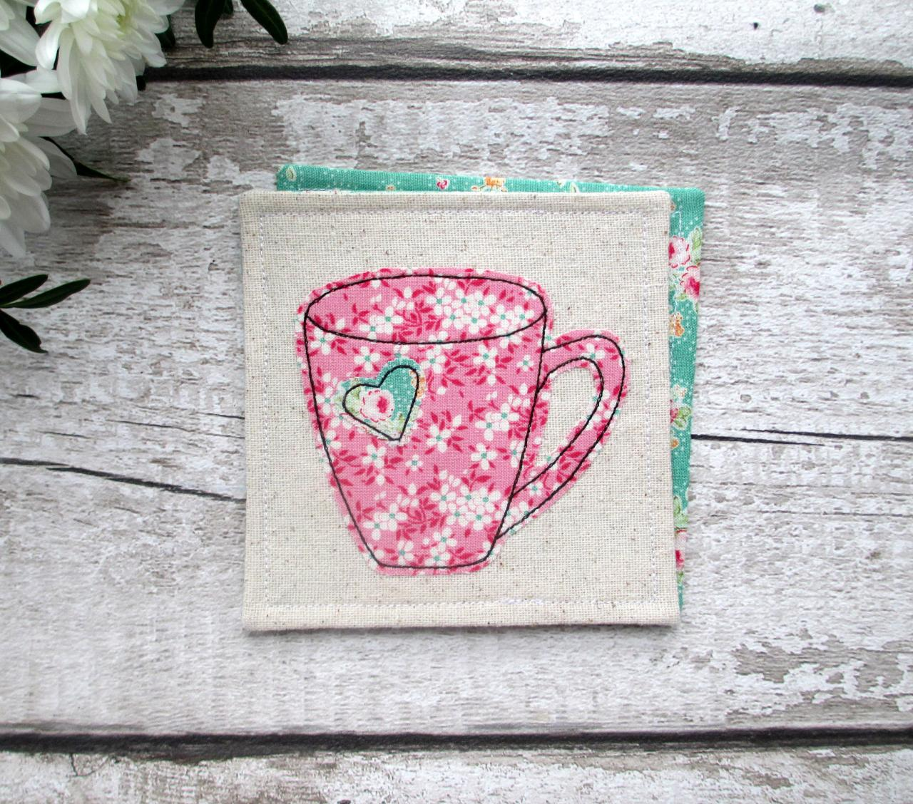 Fabric Mug Coaster, Gift For A Tea Or Coffee Lover