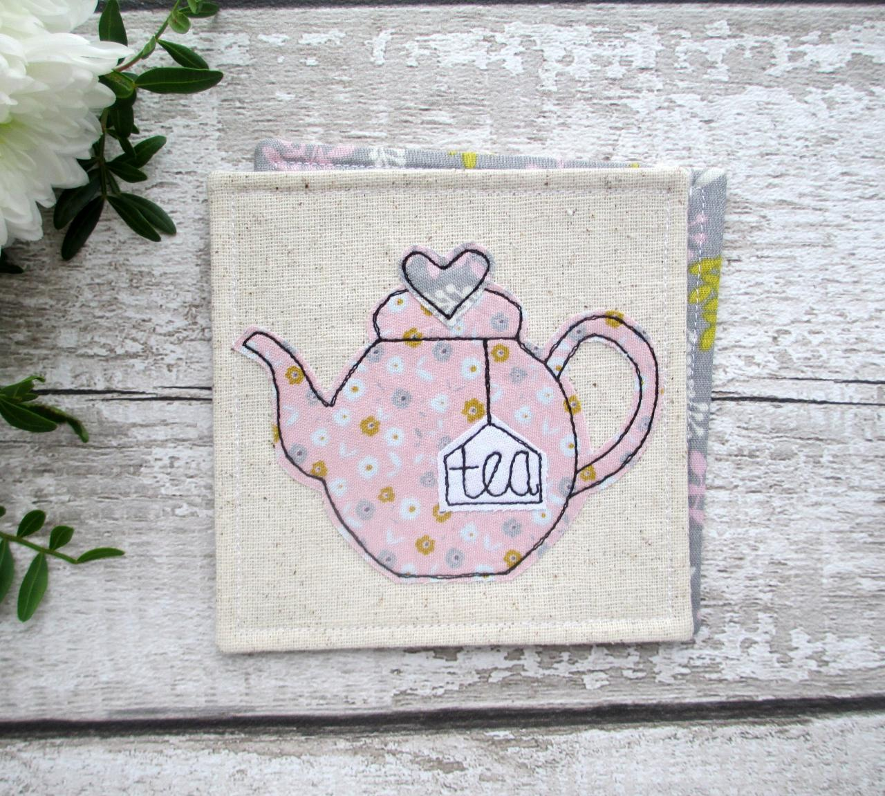 Teapot Coaster, Tea For One Gift Idea, Fabric Coffee Table Decor, Housewarming Gift For A Tea Lover