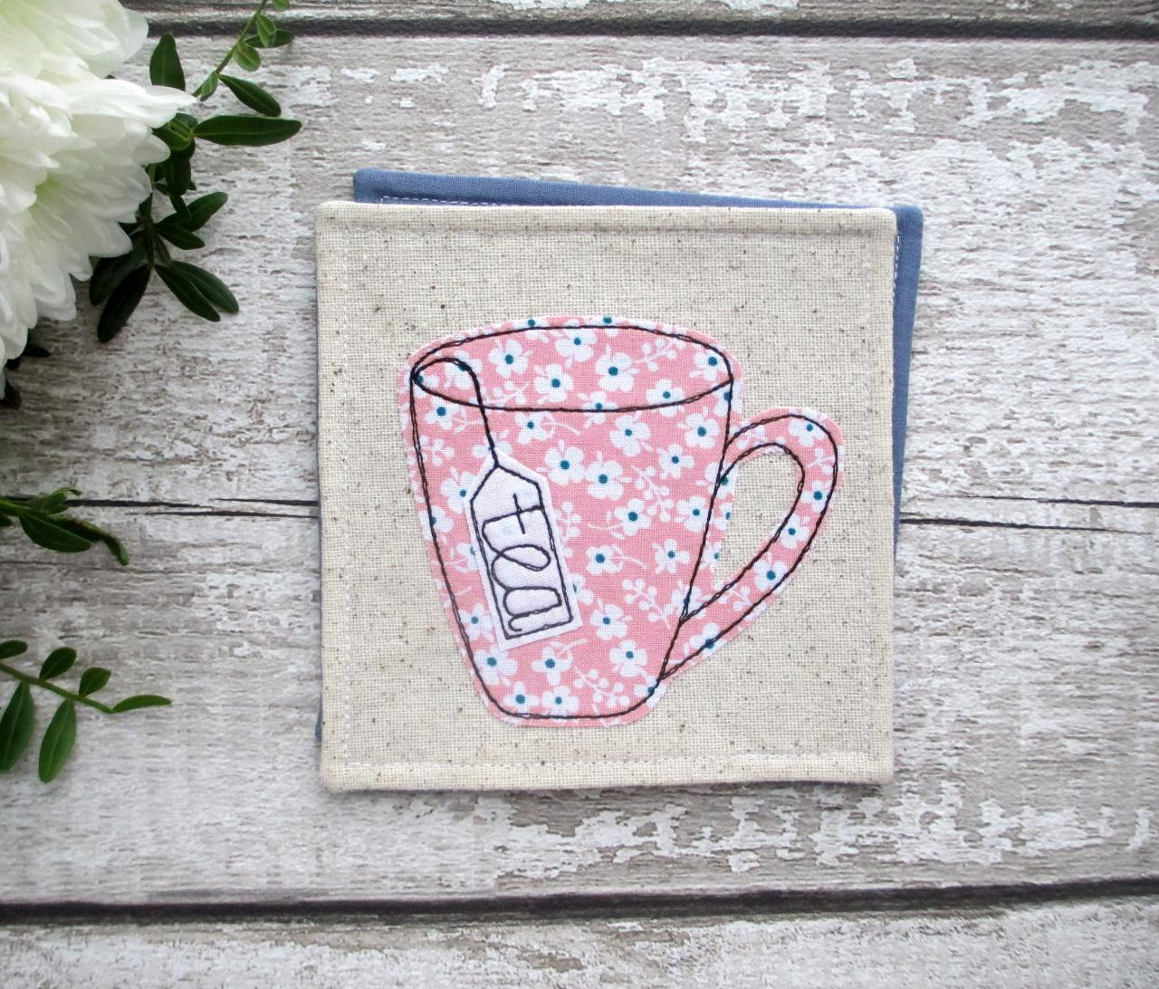 Fabric Tea Coaster, Birthday Gift For A Tea Lover