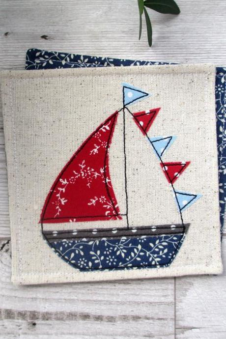 Sailboat Fabric Coaster, Nautical Housewarming Gift, Coastal Table Decor