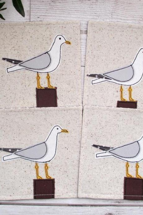 Seagull Coaster Set, Nautical Table Decor