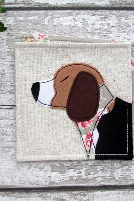 Beagle Dog Coaster, Fabric Beagle Gift