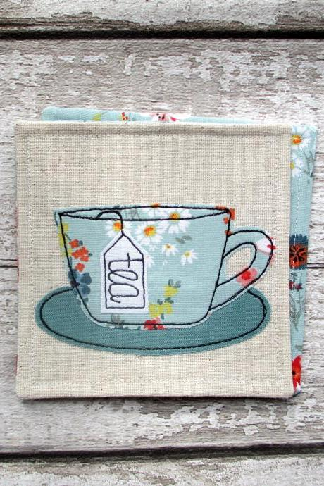 Tea Coaster, Tea Lover Gift, Unique Fabric Coaster