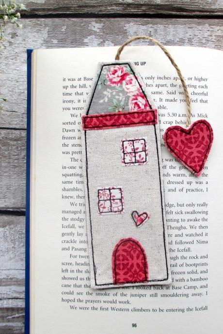 Tall House Bookmark, Unique Fabric Bookmark, Gift For A Book Lover / Bookworm / Teacher
