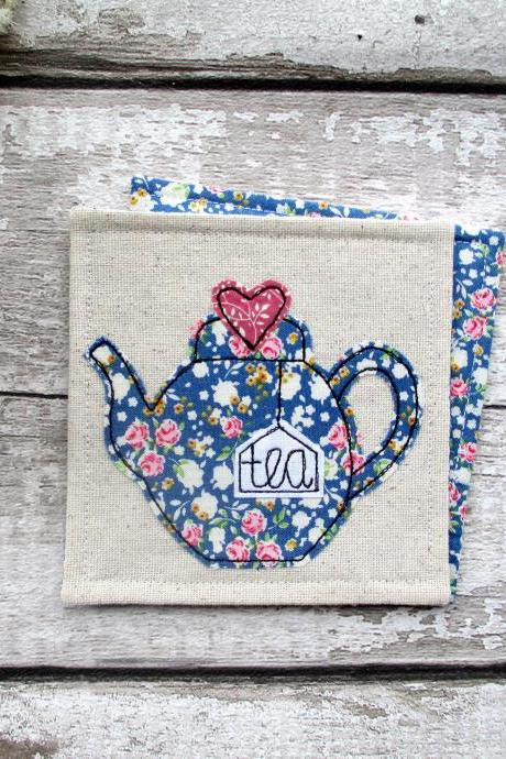 Fabric Teapot Coaster, Tea For One Gift Idea, Housewarming Gift For A Tea Lover