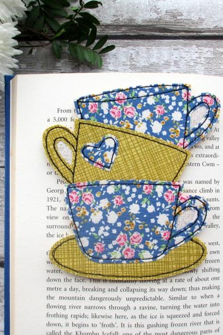 Tea Cup Stack Bookmark, Reading Gift For A Book Lover