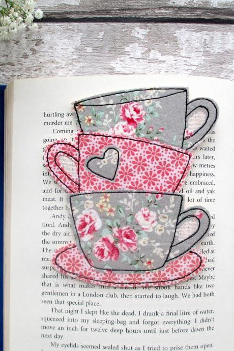 Unique Bookmark, Tea Cup Bookmark, Fabric Bookmark, Gift for Book Lover / Bookworm / Teacher