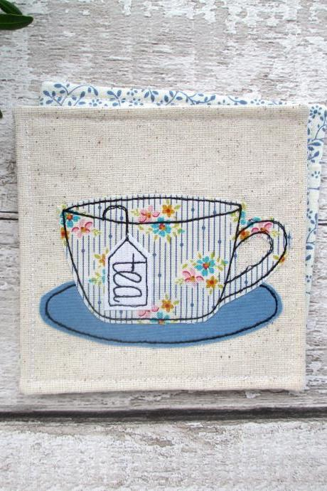 Fabric Coaster, Housewarming Gift For A Tea Lover, Tea Party Decor, Party Favours, Small Gift Ideas, Unique Tea Gift
