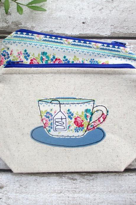Tea Cup Zipper Pouch, Tea Wallet Gift