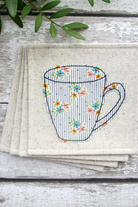 Fabric Coaster Set, Housewarming Gift For A Coffee Lover