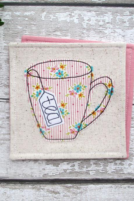 Fabric Tea Coaster, Birthday Gift For A Tea Lover, Coffee Table Decor, Kitchen Gift, Coasters For Drinks, Retirement Gift