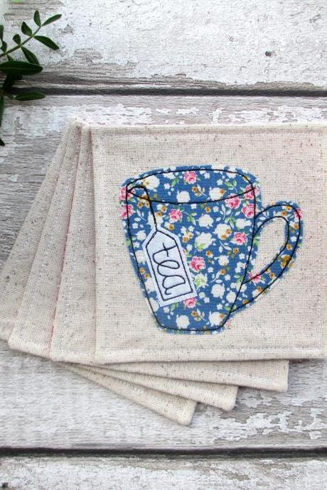 Set Of 4 Fabric Coasters, Housewarming Gift For A Tea Lover