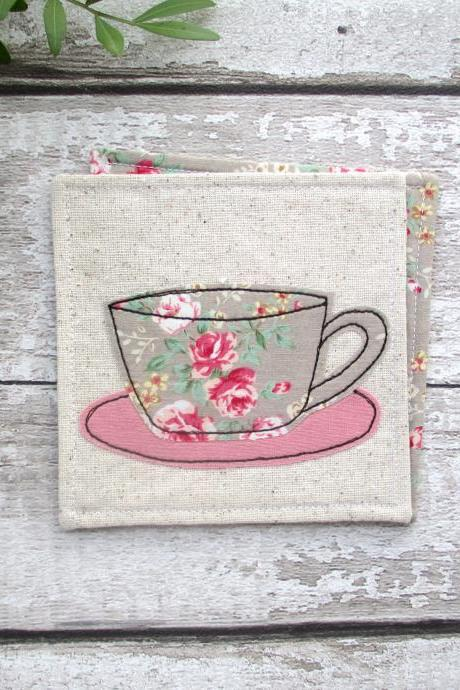 Fabric Coaster, Housewarming Gift For A Coffee Lover
