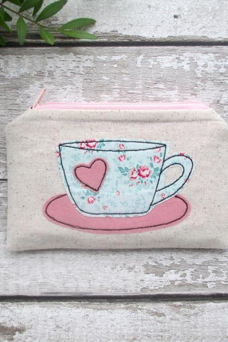 Coin Purse For A Tea Lover, Small Zipped Pouch Tea Bag Wallet