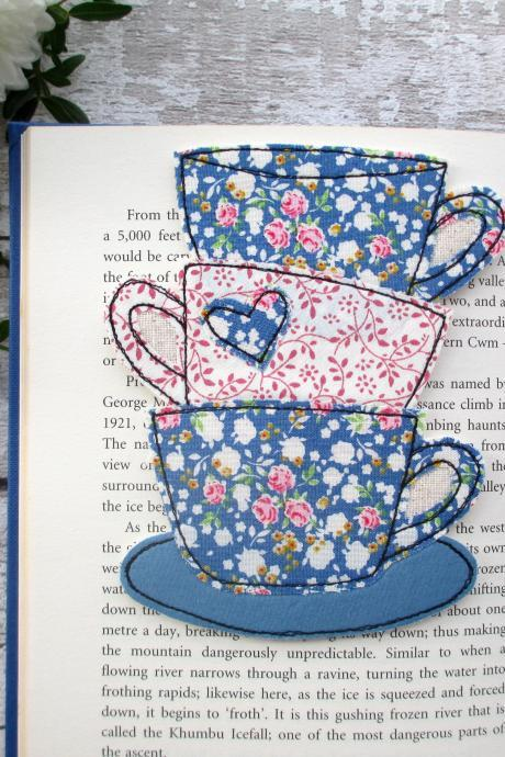 Fabric Bookmark, Tea Cup Stack Bookmark, Small Gift Idea
