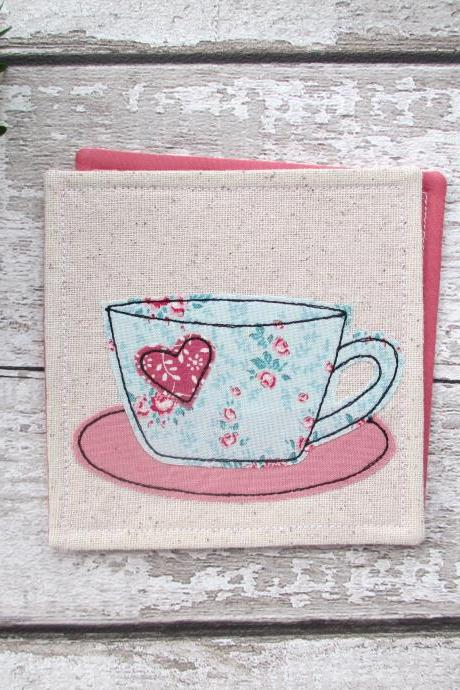 Coaster, Fabric Coaster For A Coffee Lover