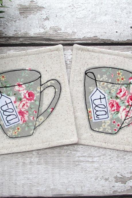 Fabric Tea Coaster Set, Housewarming Gift Idea