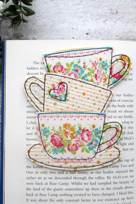 Fabric Tea Cup Bookmark, Bookish Gift For Mum