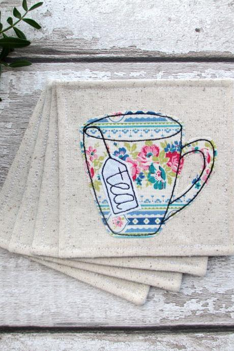 Set Of 4 Fabric Coasters, Unique Tea Gift For A Friend