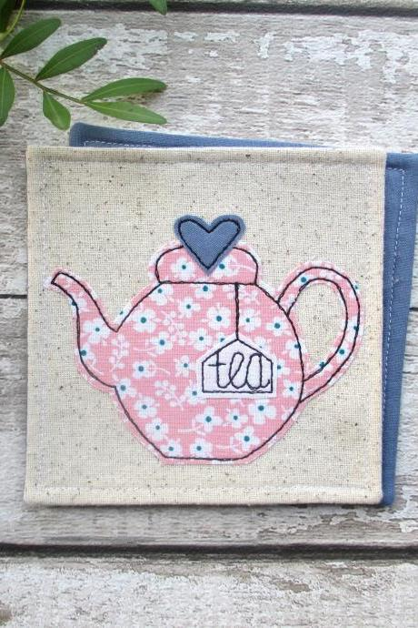 Fabric Teapot Coaster, Gift For A Tea Lover