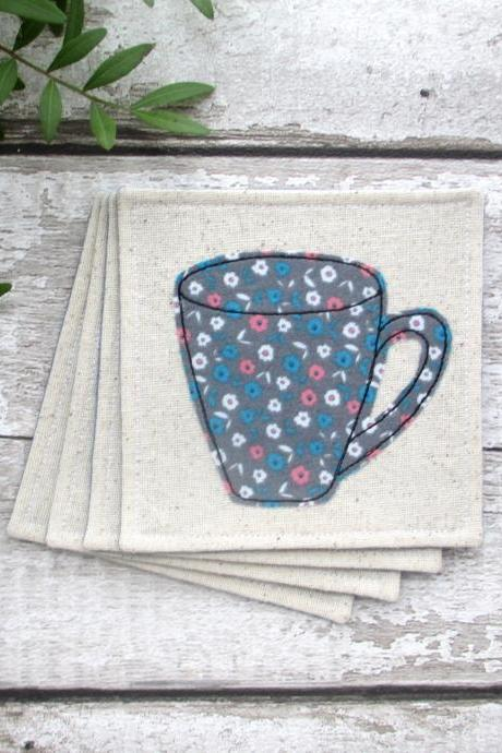 Set Of 4 Fabric Mug Coasters, Housewarming Gift Idea