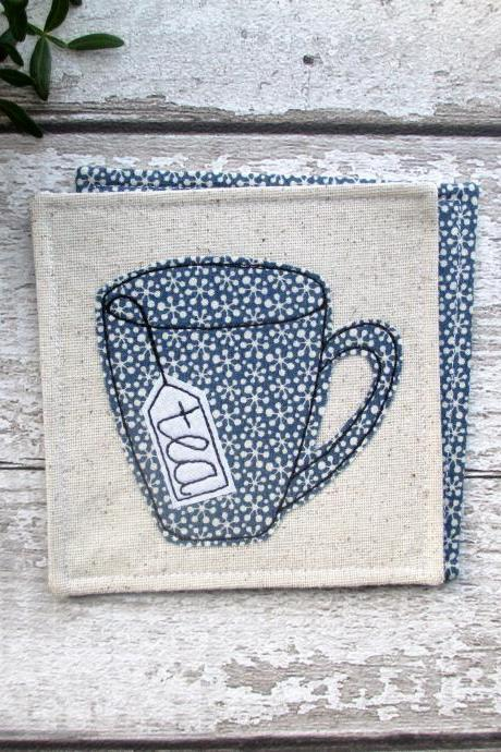 Fabric Tea Coaster, Gift For Him, Tea Drinker Gift