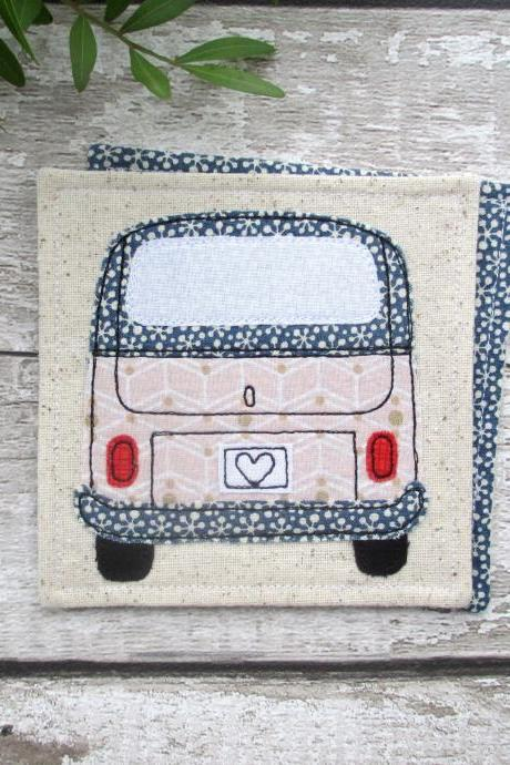 Camper Van Coaster, VW Bus Gift, Fabric Coaster, Wanderlust Gift, Gift For Her
