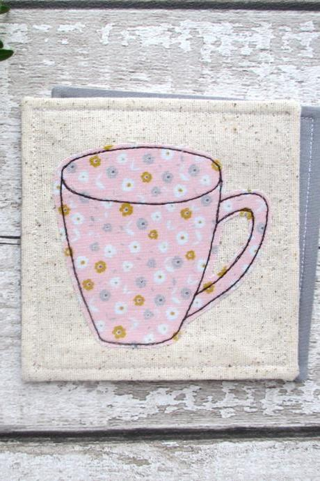 Pink Fabric Mug Coaster, Housewarming Gift For A Coffee Lover