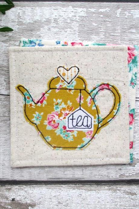 Teapot Coaster, Fabric Coaster, Retirement Gift For A Tea Lover