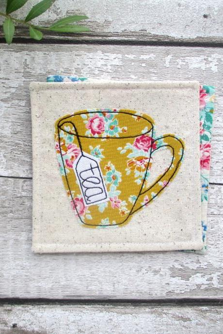 Mustard Floral Tea Coaster, Birthday Gift For A Tea Lover