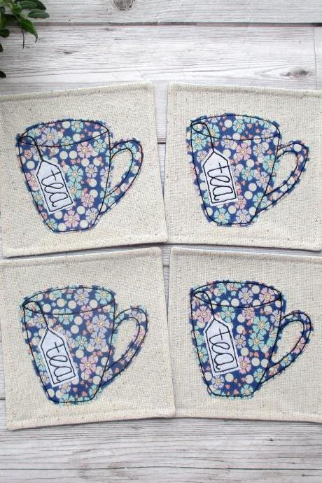 Fabric Coaster Set, Housewarming Gift For a Tea Lover