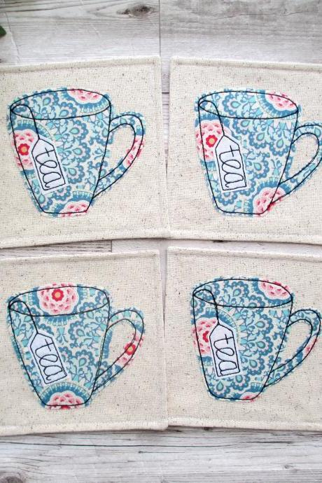Fabric Coaster Set, Wedding Gift For Tea Lovers, Coffee Table Decor