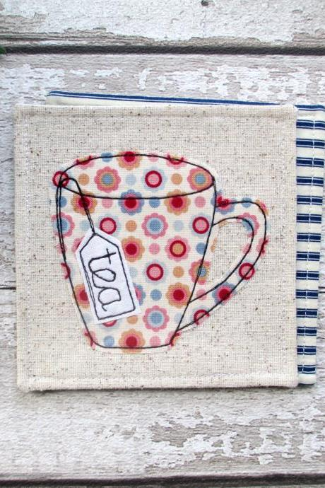 Fabric Coaster, Unique Gift For A Tea Lover