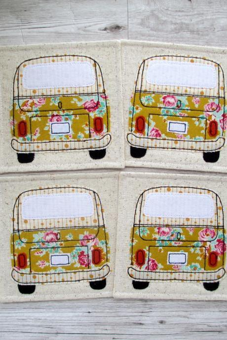 Camper Van Coaster Set, Housewarming Gift For A VW Bus Lover