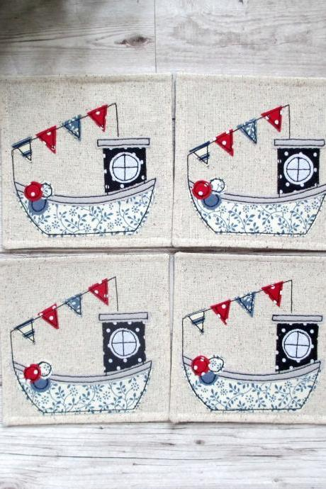 Fishing Boat Coaster Set, Nautical Housewarming Gift