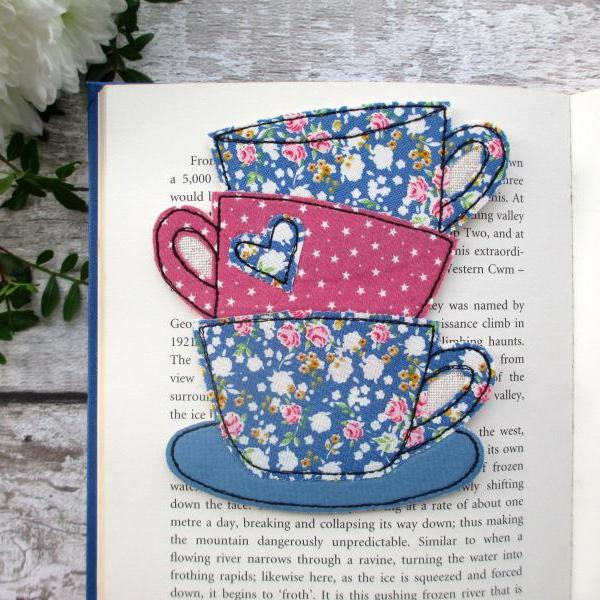 Fabric Bookmark, Book & Tea Lover Gift